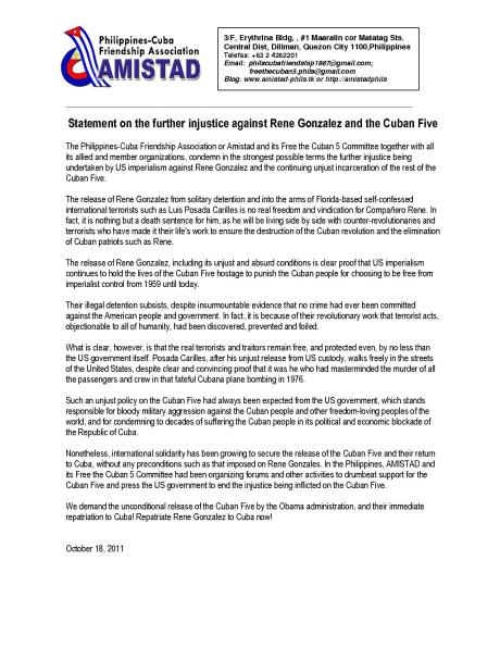 Statement on the further injustice against Rene Gonzalez and the Cuban Five
